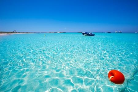 baleares: Illetes Illetas turquoise beach in Formentera Balearic Island Stock Photo
