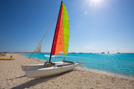 hobie: Catamaran sailboat in Illetes beach of Formentera at Balearic Islands
