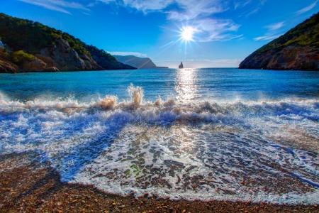 juan: Ibiza Cala Benirras sunset beach in san Juan at Balearic Islands Spain Stock Photo
