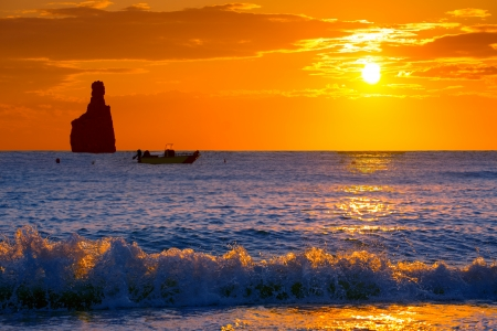 ibiza: Ibiza Cala Benirras sunset beach in san Juan at Balearic Islands Spain Stock Photo