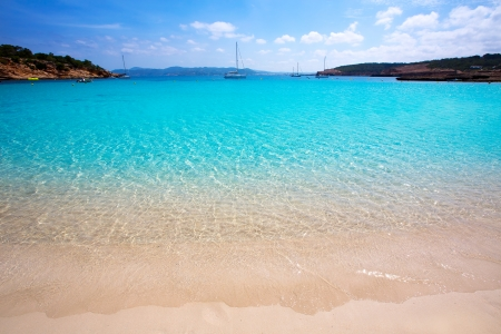 ibiza: Ibiza Cala Bassa beach with turquoise Mediterranean sea at Balearic Islands