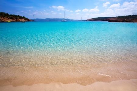 baleares: Ibiza Cala Bassa beach with turquoise Mediterranean sea at Balearic Islands