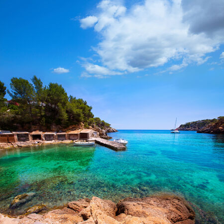 ibiza: Ibiza Cala Mestella Mastella in Santa Eulalia del Rio at Balearic islands Stock Photo