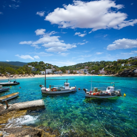 sant: Ibiza Cala Vedella Vadella in Sant Josep at Balearic Islands of spain Stock Photo
