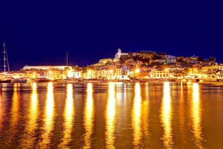 Eivissa Ibiza town downtown at sunset dalt villa in Balearic Islands of spain