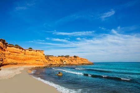 josep: Ibiza island Platja Es bol Nou beach Ses Salines in Sant Josep at Balearic islands