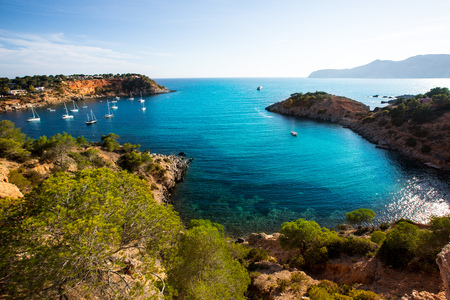 ibiza: Ibiza Es Porroig also Port Roig view at Balearic Islands of Spain Stock Photo