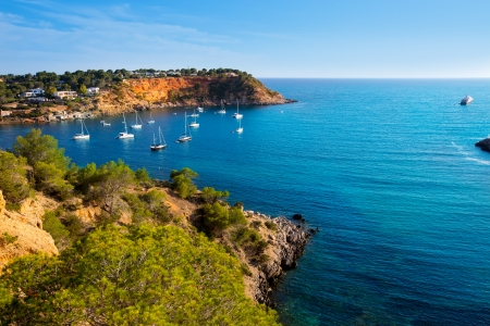 Ibiza Es Porroig also Port Roig view at Balearic Islands of Spain Banco de Imagens