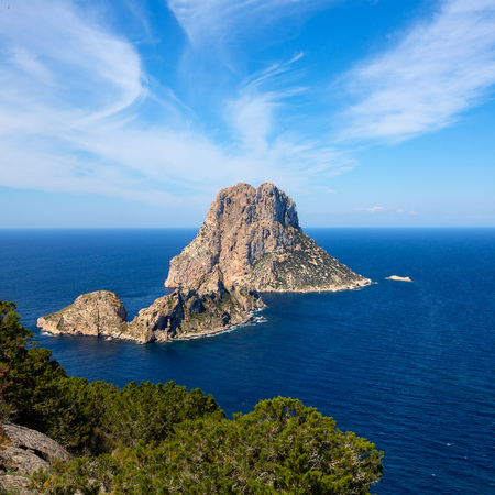 ibiza: Ibiza Es Vedra and Vedranell from Torre des Savinar Sant Josep in Balearic Islands