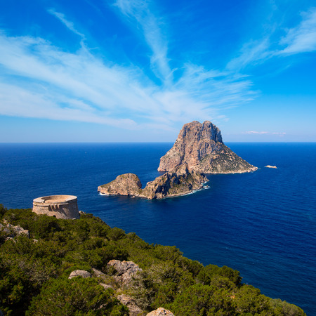 Ibiza Es Vedra view from Torre des Savinar Tower San Jose in Balearic Islands photo