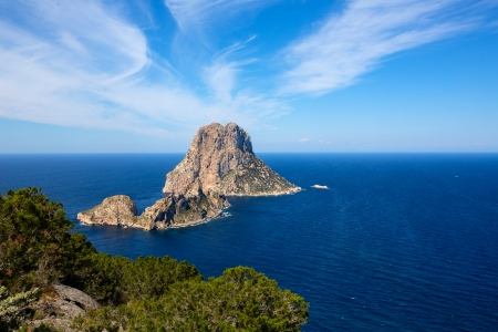 es: Ibiza Es Vedra and Vedranell from Torre des Savinar Sant Josep in Balearic Islands