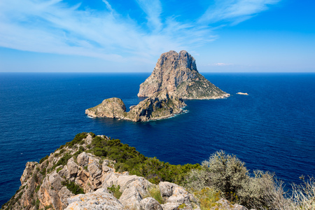 vedra: Ibiza Es Vedra and Vedranell from Torre des Savinar Sant Josep in Balearic Islands