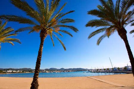 antonio: Ibiza san Antonio Abad de Portmany beach in Balearic Islands of spain Stock Photo