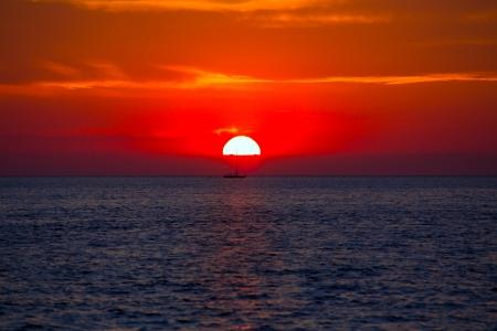 antonio: Blue orange sunset on mediterranean sea at Balearic Islands