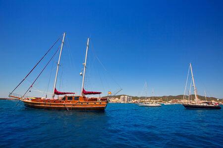 sant: Ibiza San Antonio Abad Sant Antoni de Portmany sailboats in Balearic Islands Stock Photo