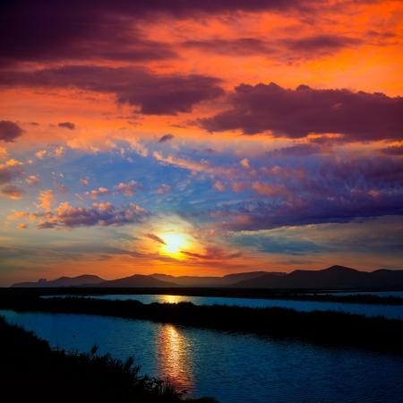 josep: Ibiza ses Salines saltworks at sunset in Sant Josep at Balearic Islands of Spain