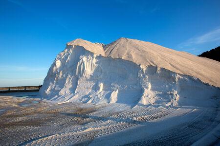 josep: Ibiza ses Salines saltworks white salt mountain in Sant Josep