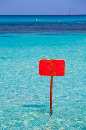 sign blank: turquoise Ibiza Formentera with red sign blank copyspace Stock Photo