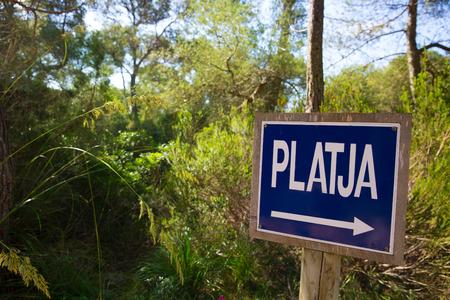 mediterranean forest: Menorca track blue sign with Platja or beach arrow in Mediterranean pine forest