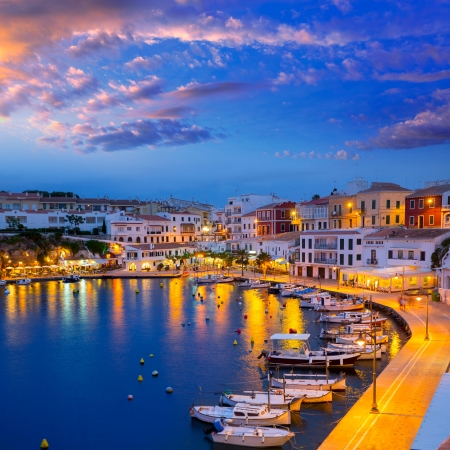 Calasfonts Cales Fonts Port sunset in Mahon at Balearic islands