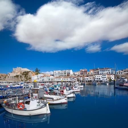 moored: Ciutadella Menorca marina Port view and Ayuntamiento Town hall Balearic Islands Stock Photo