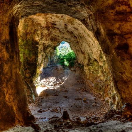menorca: Menorca Cova dels Coloms Pigeons cave in es Mitjorn at Balearic island Stock Photo