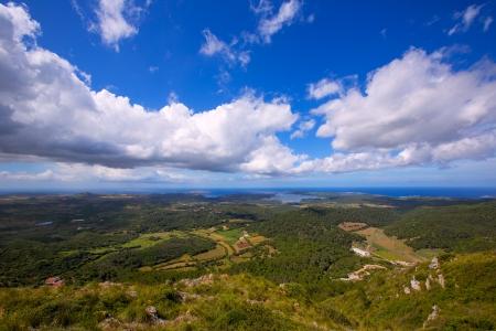 menorca: Menorca North aerial view from Pico del Toro in Balearic islands Stock Photo