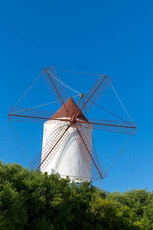 Menorca Es Mercadal windmill on blue sky at Balearic Islands photo
