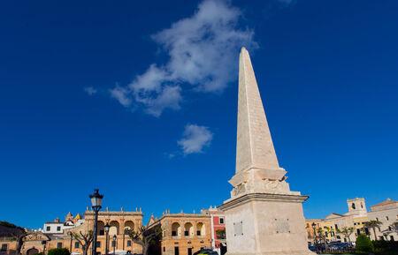 obelisc: Ciutadella Menorca Placa des Born Obelisc in downtown Ciudadela at Balearic islands