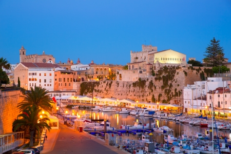 moored: Ciutadella Menorca Port sunset town hall and cathedral in Balearic islands