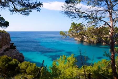 menorca: Cala Macarella Ciutadella Menorca turquoise Mediterranean sea in Balearic islands