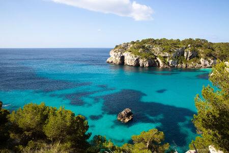 Cala Macarella Ciutadella Menorca turquoise Mediterranean sea in Balearic islands