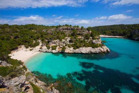 menorca: Cala Macarelleta in Ciutadella Menorca at turquoise Balearic Islands Mediterranean sea Stock Photo
