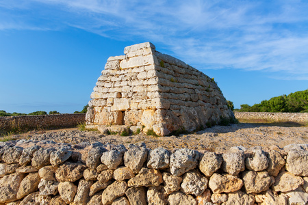 settlements: Menorca Ciutadella Naveta des Tudons megalithic chamber tomb In Balearic islands