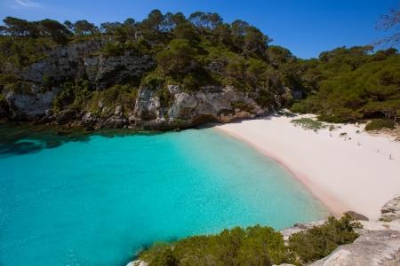 balearic: Cala Macarelleta in Ciutadella Menorca at turquoise Balearic Islands Mediterranean sea Stock Photo