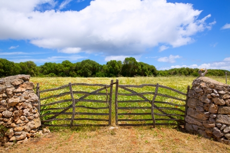 garden fence: Menorca traditional wooden gate in spring at  Balearic islands of Spain