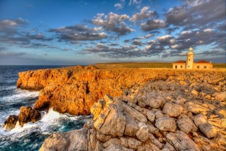 isla: Menorca Punta Nati Faro lighthouse in Ciutadella Balearic Islands of Spain