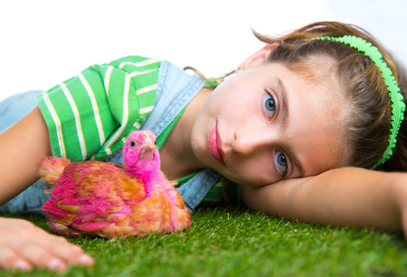 breeder hens kid girl rancher farmer playing with chicken chicks white background photo