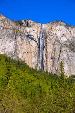 horsetail: Yosemite Horsetail fall waterfall in spring California national Parks of UA Stock Photo