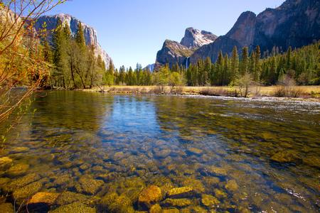 Yosemite Merced River el Capitan and Half Dome in California National Parks US photo
