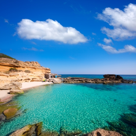 balearic: Formentera Es Calo des Mort beach turquoise Mediterranean at Mitjorn of balearic islands