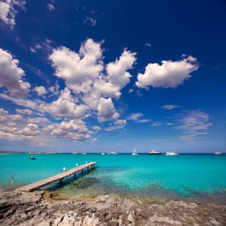 formentera: Formentera tropical Mediterranean sea wooden pier in Illetes beach Balearic Islands Stock Photo