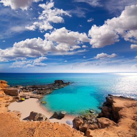 des: Formentera Es Calo des Mort beach turquoise Mediterranean at Mitjorn of balearic islands