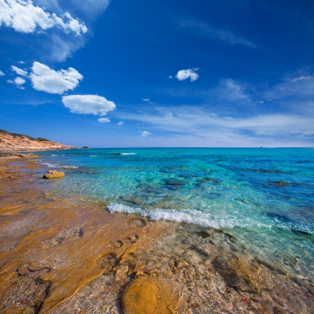 formentera: Formentera Mitjorn south beach with turquoise Mediterranean at Balearic Islands Stock Photo