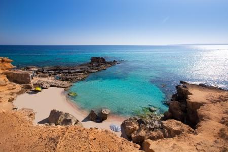 formentera: Formentera Es Calo des Mort beach turquoise Mediterranean at Mitjorn of balearic islands