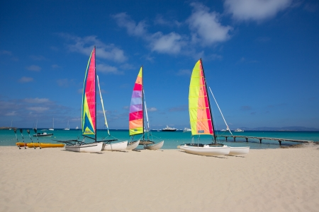 hobie: catamaran sailboats in Illetes Formentera beach at Balearic Islands Stock Photo