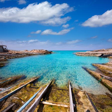 formentera: Formentera Escalo de San Agustin beach turquoise Mediterranean at Balearic Islands