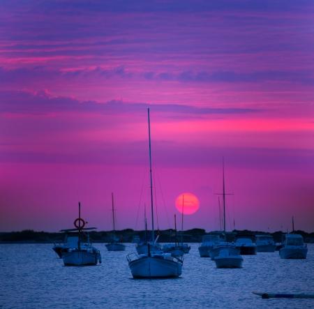 purple sunset: Formentera sunset at Estany des Peix lake in Balearic Islands