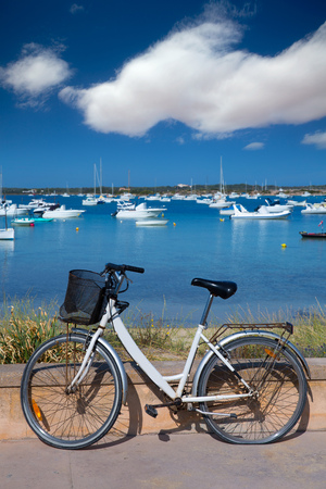 Formentera bicycle at Estany des Peix lake in Balearic Islands photo