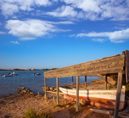 beached: Beached boat in Estany des Peix at Formentera Balearic Islands of Spain